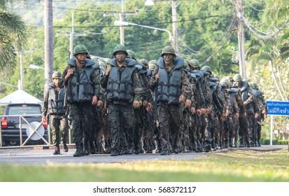 CHONBURI.THAILAND: January 31, 2017: Navy Seal Military endurance training in hell week on in Satahip, Chonburi, THAILAND.
