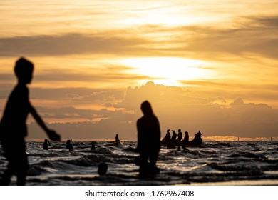 Chonburi,Thailand - June 12,2020 : Bang Saen Beach with New normal policy after third-phase of measure relaxations in Thailand. It's regarded as a very popular beach because it is closest to Bangkok.