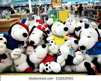 Chonburi,Thailand - June 24,2018 :Dolls of Snoopy limited Edition FIFA wold Cup 2018 on a shelf in supermaket.