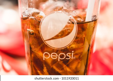 Chonburi,Thailand - Nov 05 ,2017: KFC's Pepsi cold drink on KFC restaurant