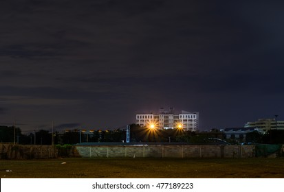 """CHONBURI,THAILAND-JULY 09 2016 : FAculty of engineering building of university name """"BURAPHA"""" in eastern thailand at the night."""