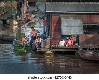 chong khneas, cambodia - november 29, 2018: chong khneas is a floating village on the tonle sap.