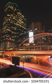 Chong Nonsi BTS station at night.