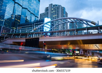 Chongnonsi, Chong Nonsi Skywalk at Bangkok Skytrain station on Silom Line, Modern skywalk in business area in Bangkok, Thailand.