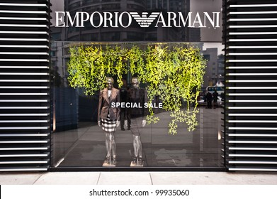 CHONGQING, CHINA - JAN 22: Emporio Armani boutique in Chongqing on January, 22, 2010. The fashion house, founded in 1975 in Milan, is led by the founder Giorgio Armani.