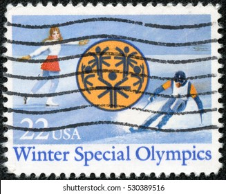CHONGQING, CHINA - May 10, 2014:A stamp printed in USA dedicated to Winter Special Olympics in Park City, Utah, circa 1985