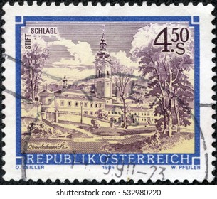 CHONGQING, CHINA - May 10, 2014:a stamp printed in the Austria shows Schlagl Monastery, Upper Austria, circa 1984
