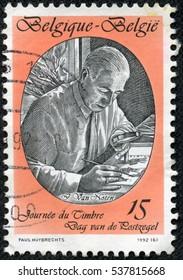 CHONGQING, CHINA - May 10, 2014:A  stamp printed by Belgium, shows Jean Van Noten, Stamp Designer, circa 1992