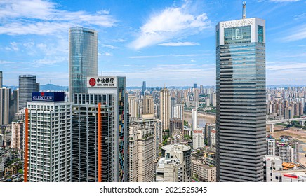 Chongqing, China - May 14th 2021: Glenview Hotel and China Citic Bank make up modern skyscrapers, corporate office towers, residential buildings in Jiefangbei, Chongqing's central business district