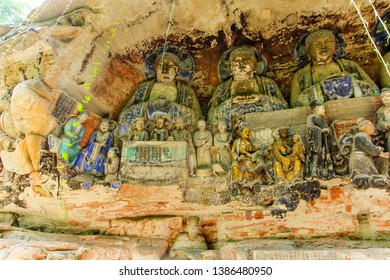 CHONGQING, CHINA - MAY 31, 2014: Dazu Rock Carvings are a series of Chinese religious sculptures and carvings in Dazu District, Chongqing, China. a UNESCO world heritage site