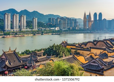 CHONGQING, CHINA - NOVEMBER 03: View of old historic buildings with Chongqing city buildings in the distance on Yangtze River on November 03, 2018 in Chongqing