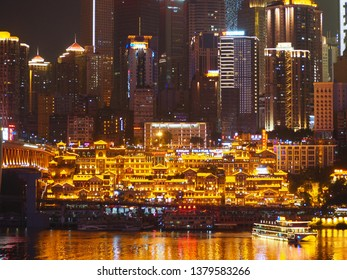 CHONGQING, CHINA, OCTOBER 2017 City view at night in Chongqing, China, one of the main cities and destinations for tourism, business and investment.