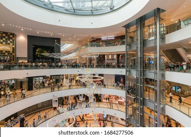 Chongqing, China - Sep 6, 2019: People in a modern shopping mall in China