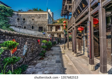 CHONGQING, CHINA - SEPTEMBER 19: Traditional Chinese architecture at Xia Hong Xue alley, a street known for its heritage architecture on September 19, 2018 in Chongqing