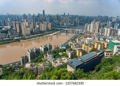 CHONGQING, CHINA - SEPTEMBER 23: Aerial city view of Chongqing and the Jialing river taken from Erling Park on September 23, 2018 in Chongqing