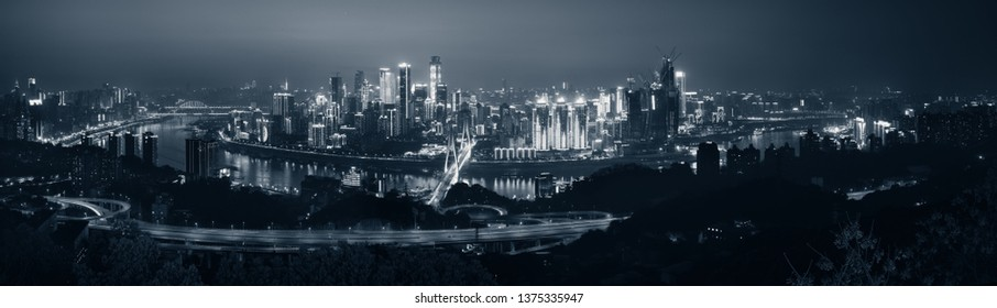 Chongqing urban architecture and city skyline panorama at night in China