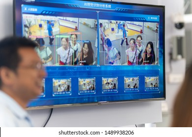 Chongqing,China: August,26th 2019 -facial identification technology in Smart china expo. China is developing facial identification to accelerate its national strategy of china made 2025.