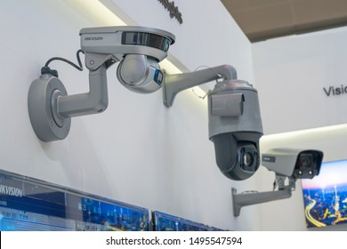 Chongqing,China-August 29th,2019: Hikvision display latest cctv products in Smart China Expo. China has become largest export country of CCTV industry.