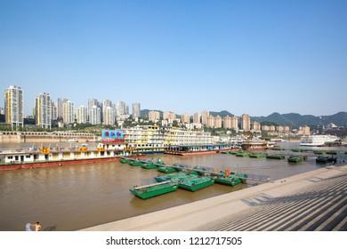 Chongqing,China.June 8th,2015.Chongqing Qiansimen Jialing River Bridge is located at Yuzhong peninsula.Next to Chongqing famous scenic spot Hongya cave.