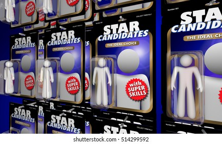 Choose Best Job Candidate Interview Many Choices Action Figures 3d Illustration