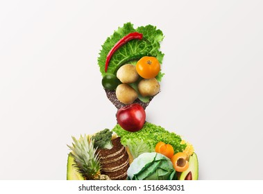 Choose healthy food for your organism. Woman of fresh vegetables, fruits and whole grain products on white background - Shutterstock ID 1516843031