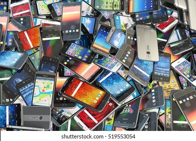 Choose mobile phone. Heap of the different smartphones with different application on the screen. Modern technology concept background. 3d illustration