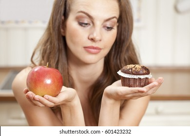 To choose   a muffin  or an healthy apple