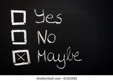 choose yes or no written on a chalkboard