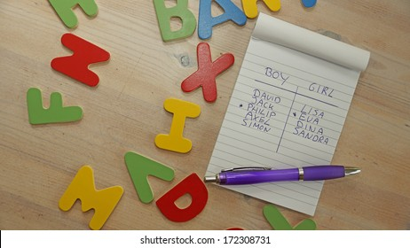 Choosing baby name for a boy or a girl written on a note, around wooden letters