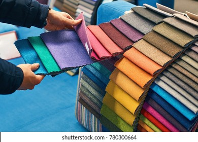 Choosing a fabric color in a store