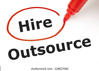 Choosing to Hire instead of Outsource. Hire selected with red marker.