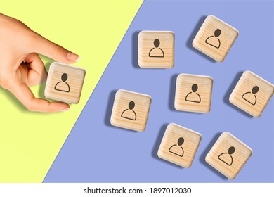 Choosing person for hiring, Select the best person from group of human icon for the job vacancy