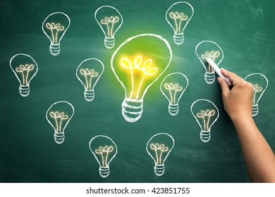 Choosing the right solution the biggest bulb on chalkboard present choosing the right and best solution of all the others