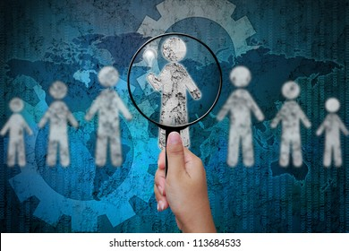Choosing the talent person for hiring in magnifying glass