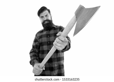 Chop it. Axe selective focus. Bearded man hold large axe handle isolated on white. Brutal lumberjack with iron axe. Cutting axe or wood chopper with sharp blade.
