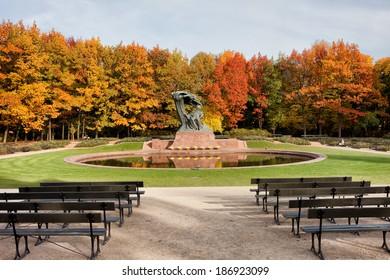 Chopin monument in autumn scenery of the Royal Lazienki Park in Warsaw, Poland, designed around 1904 by Waclaw Szymanowski (1859-1930).