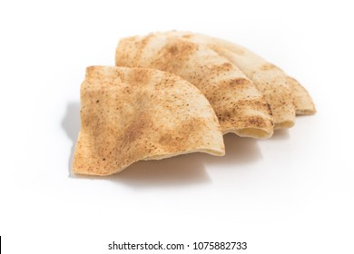 Chopped arabic bread isolated on white background