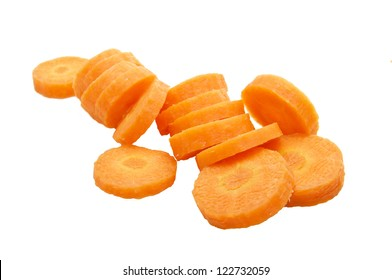 Chopped Carrot Isolated on White Background
