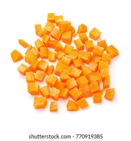 Chopped carrot slices isolated on a white background.