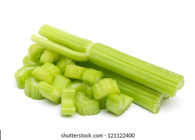 Chopped celery isolated on white