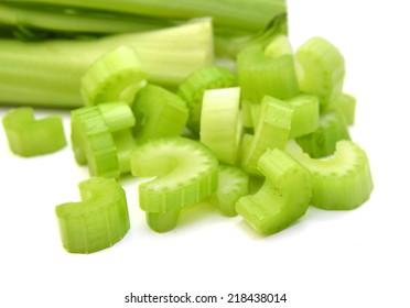 Chopped celery isolated on white