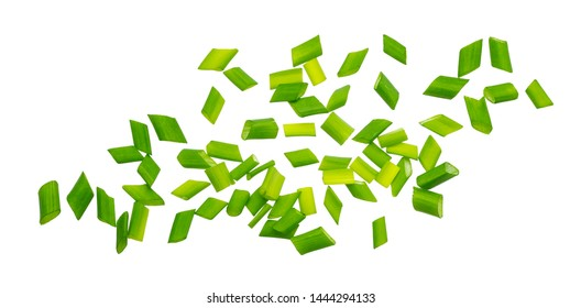 Chopped chives, fresh cut green onions isolated on white background with clipping path, macro, closeup