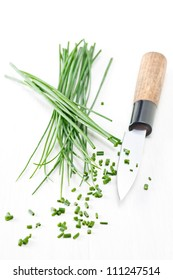 Chopped chives with japanese knife