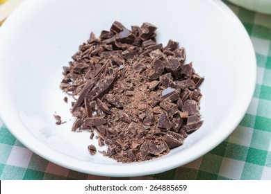 Chopped chocolate in the bowl