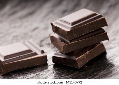 Chopped chocolate isolated on white background