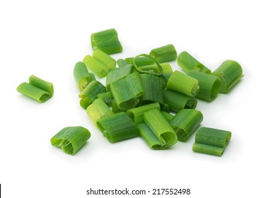 Chopped or cut scallions isolated on white.