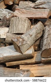 Chopped Firewood in a Pile