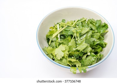 Chopped fresh corriander in the bowl , over white