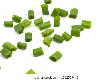Chopped fresh green onions isolated on white background.