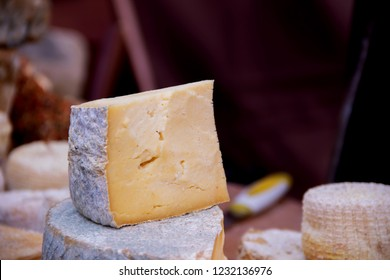 Chopped Gouda cheese on the background street food fastiva
